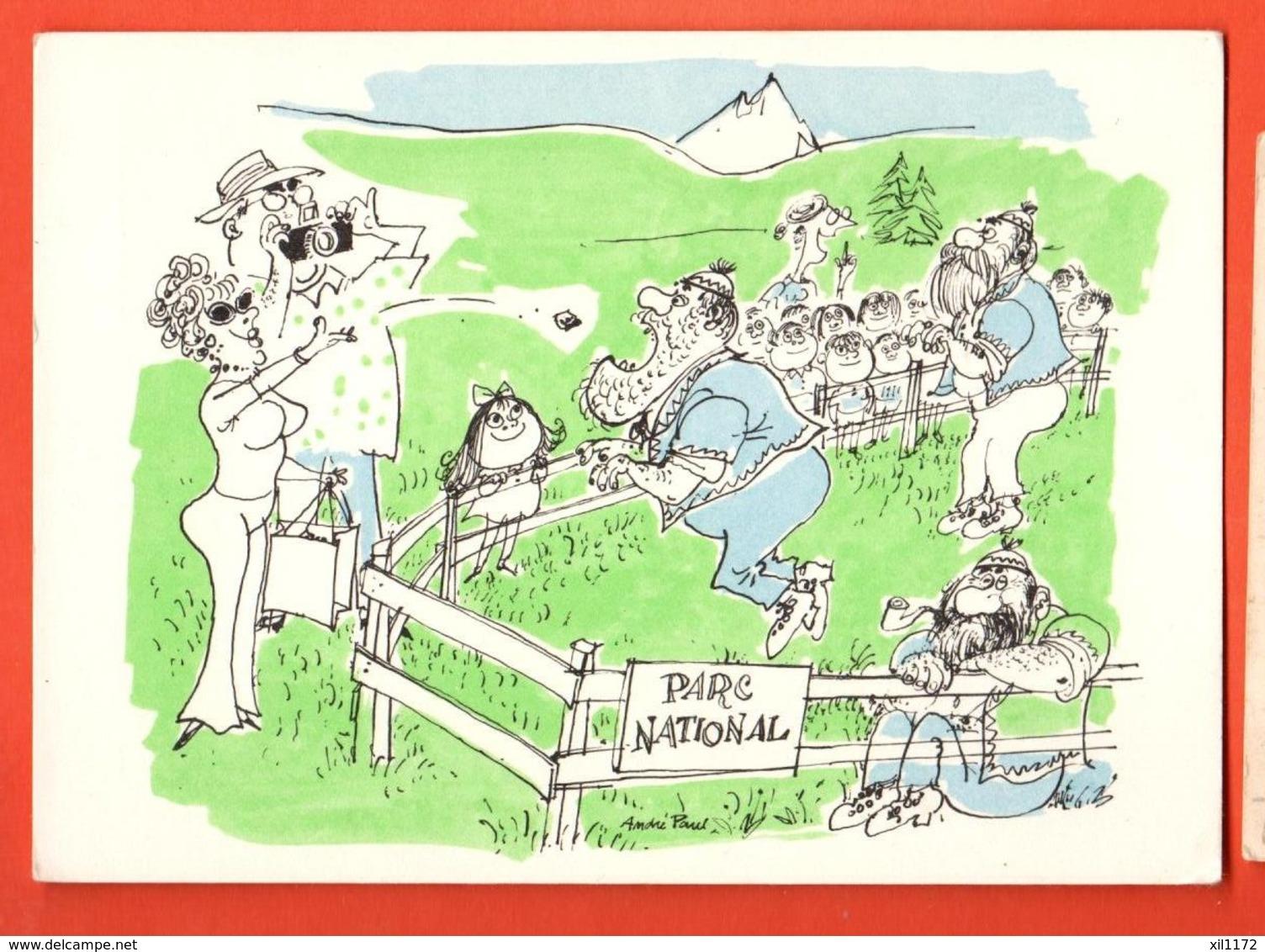 TRO-12 Dessin D'André Paul, Parc National. Touristes Jetant De La Nourriture Aux Paysans,armaillis.Humour.Grand Format, - VD Vaud
