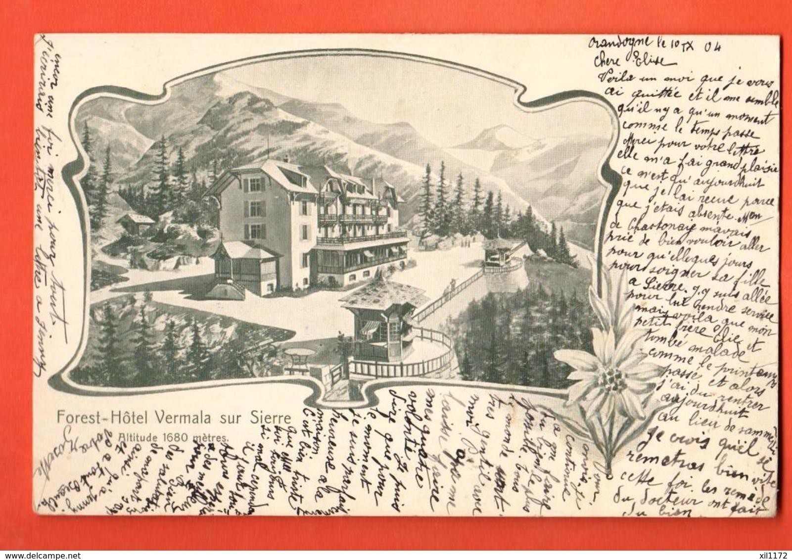 TRO-31 Montana-Vermala Sur Sierre, Forest-Hotel, Litho.. Circulé En 1904  Précurseur. - VS Valais