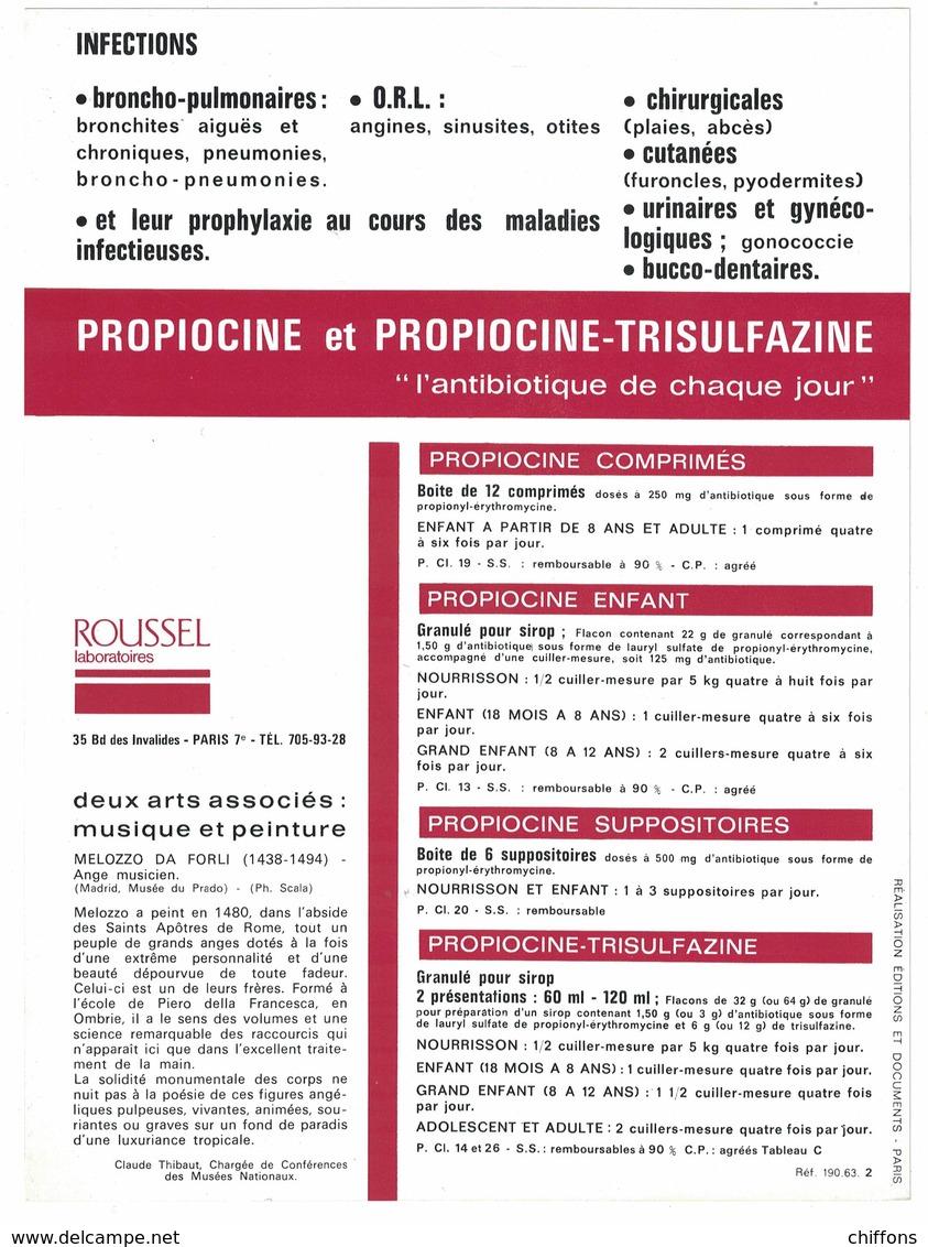 MUSIQUE & PEINTURE MELOZZO DA FORLI 1438-1494 MADRID  / LES LABORATOIRES ROUSSEL Bd DES INVALIDES PARIS - Publicités