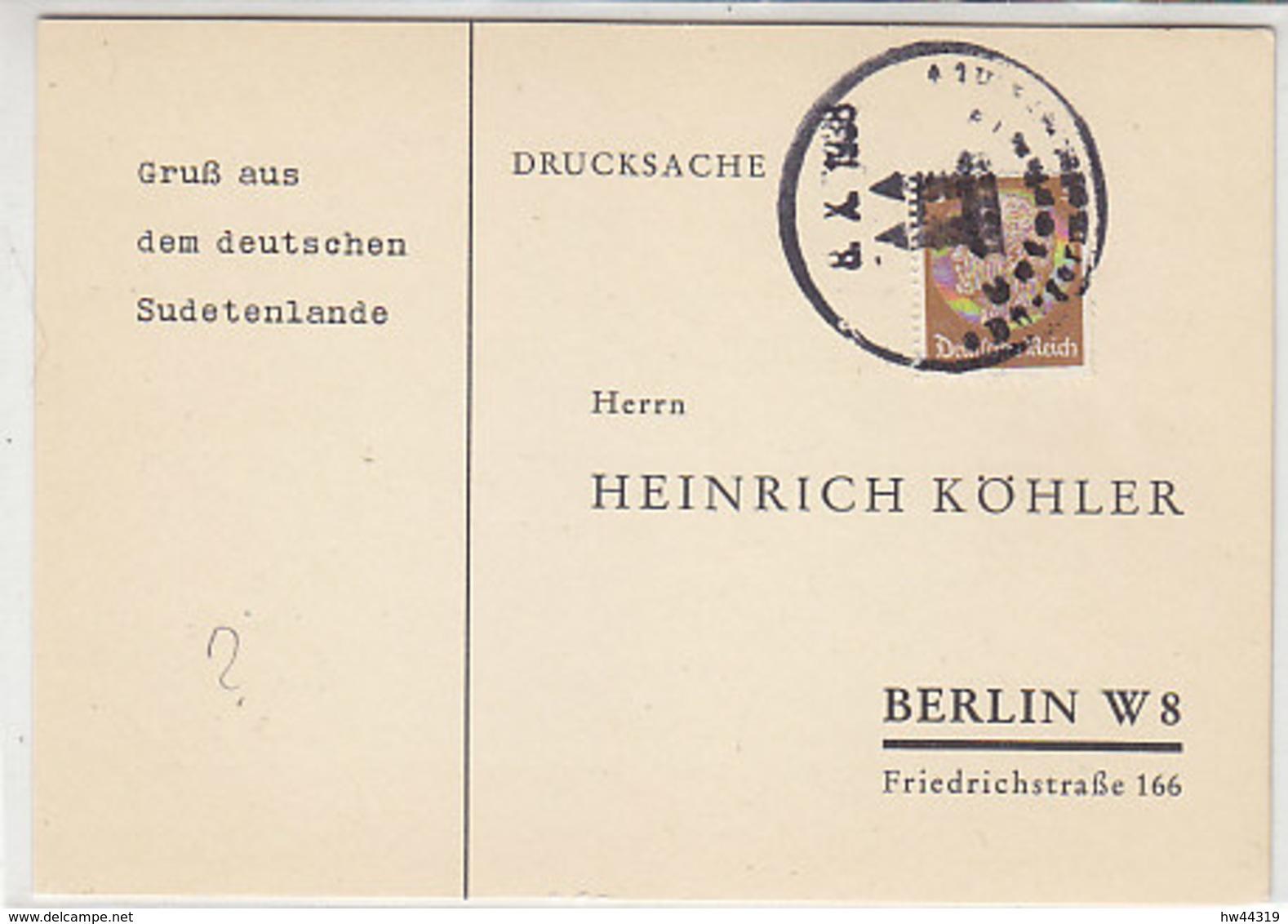 Köhler-Karte Mit Stempel .. Glin? / Unterfeld? - Occupation 1938-45
