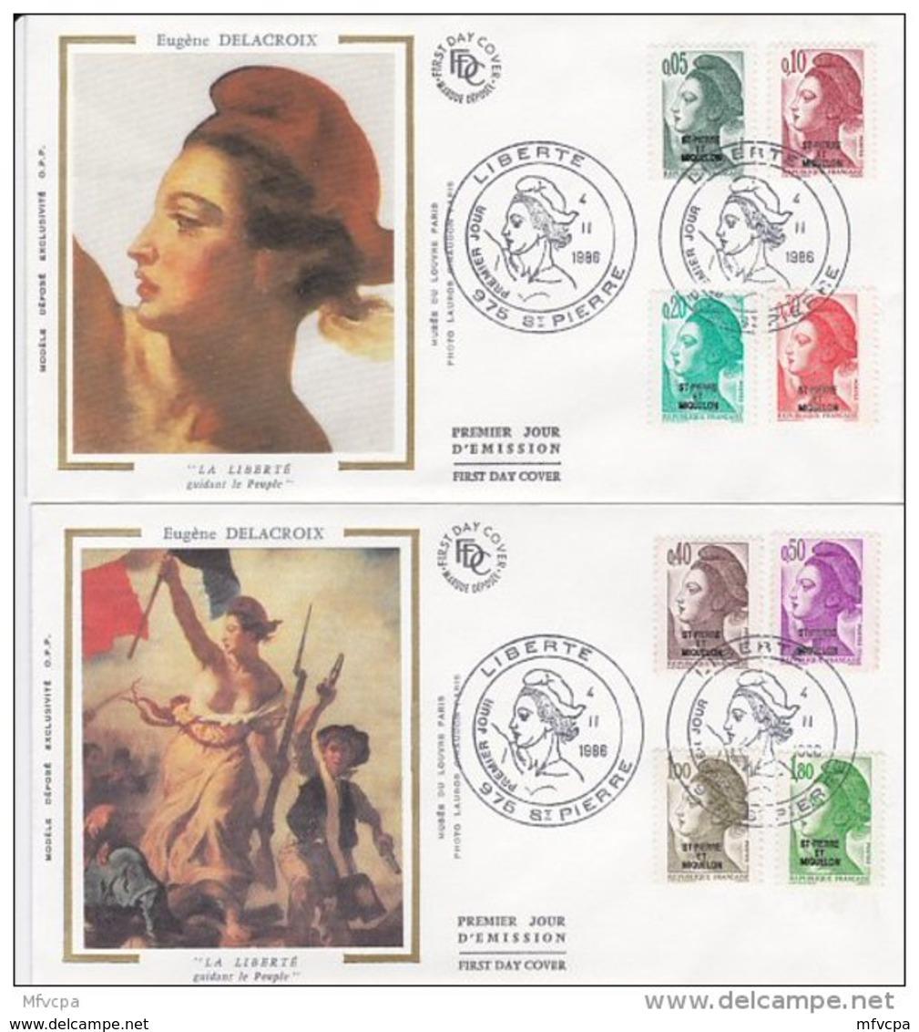 L4P184 SAINT PIERRE MIQUELON 1988 Liberté FDC  11 Valeurs Saint-Pierre 25 07 1988/ 4 Envel.  Illus. - 1982-90 Liberty Of Gandon