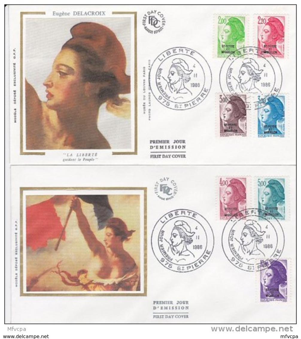 L4P184 SAINT PIERRE MIQUELON 1988 Liberté FDC  11 Valeurs Saint-Pierre 25 07 1988/ 4 Envel.  Illus. - 1982-90 Libertà Di Gandon