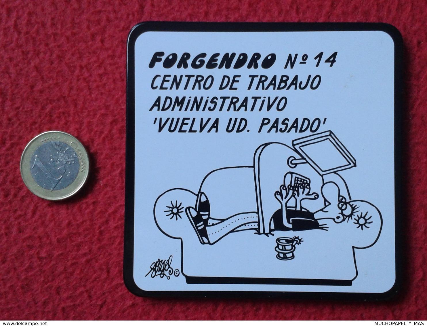 SPAIN POSAVASOS COASTER MAT O SIMIL FORGENDRO FORGES DIBUJO Nº 14 HOMBRE EN SOFÁ CENTRO DE TRABAJO HUMOR HUMOUR HUMOROUS - Portavasos