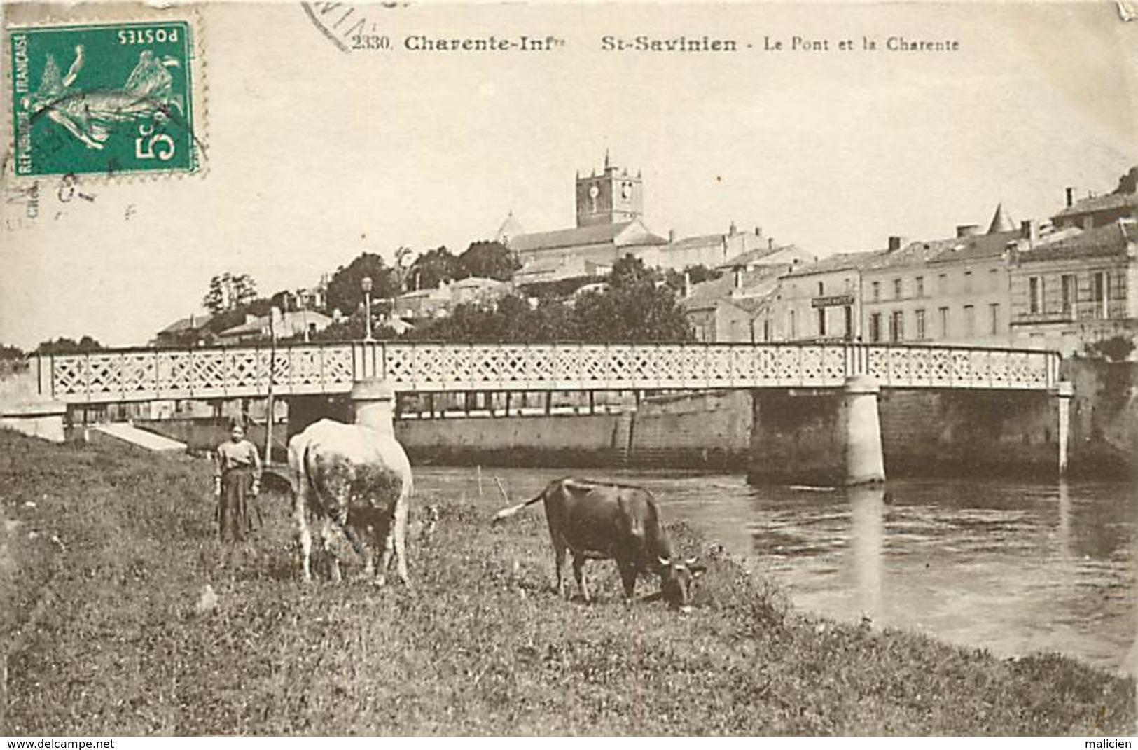 Dpts Div.-ref-AF864- Charente Maritime - Saint Savinien - St Savinien - Le Pont Et La Charente - Edit. Braun N° 2330 - - France