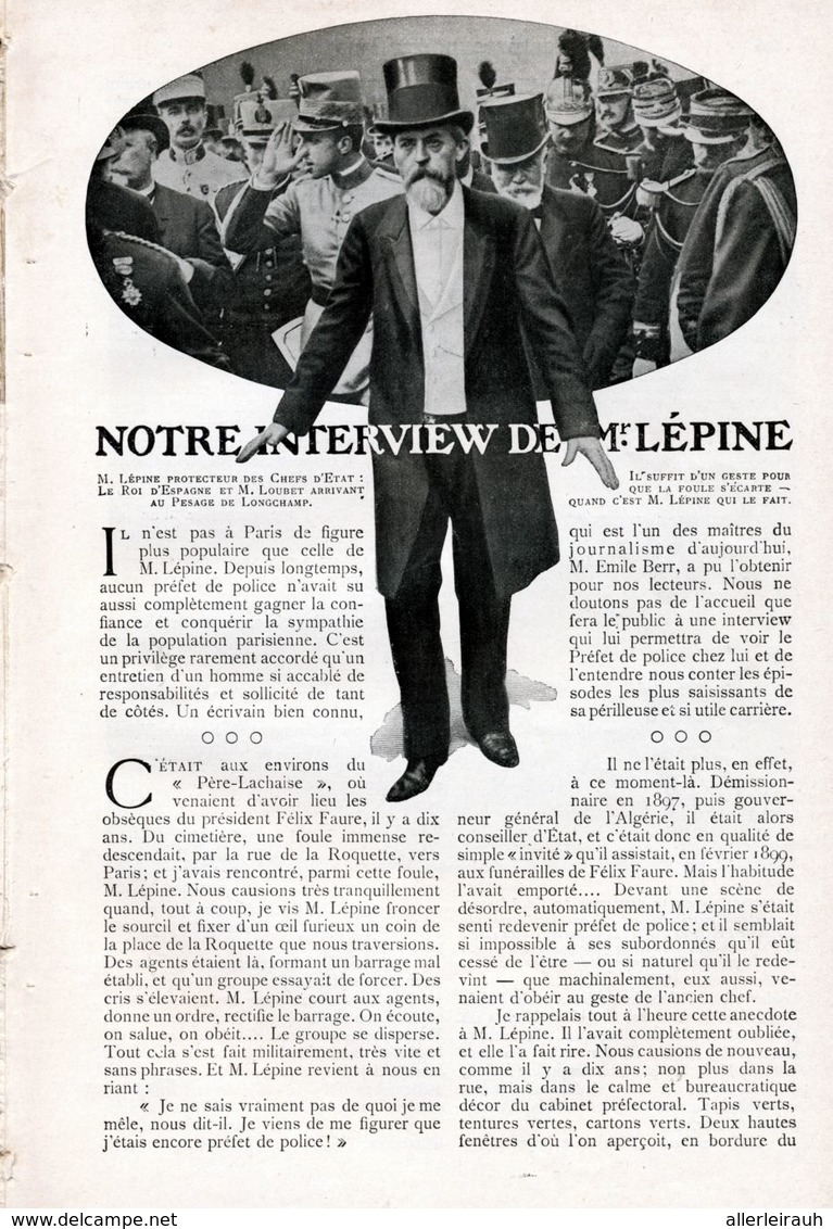 Notre Interview De Mr. Lepine/ Article, Pris D`un Magazine / 1908 - Bücher, Zeitschriften, Comics