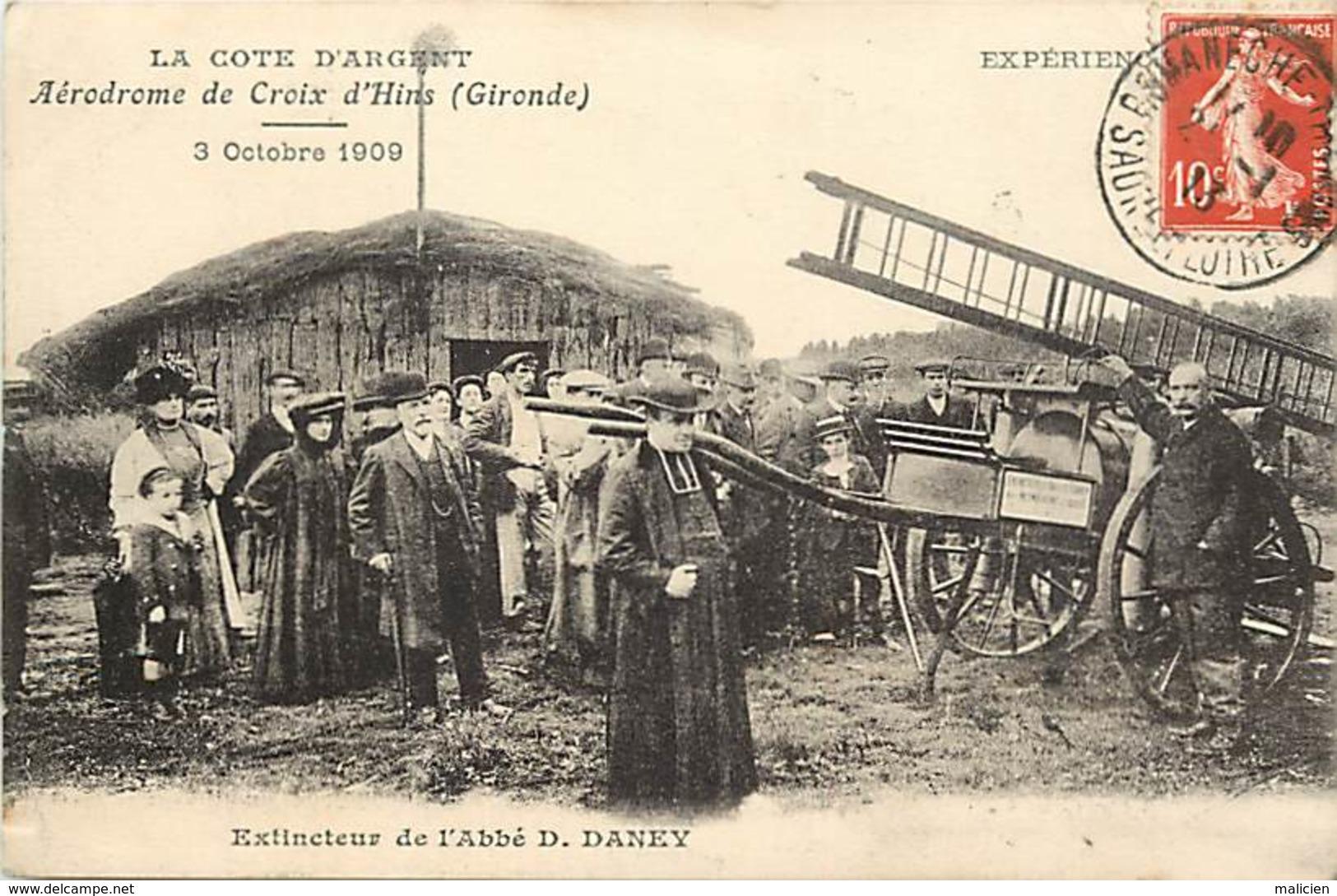 Dpts Div.-ref-AF830- Gironde - Aerodrome De Croix D Hins - Extincteur De L Abbé D. Daney - Aerodromes - Aviation - 1909 - France