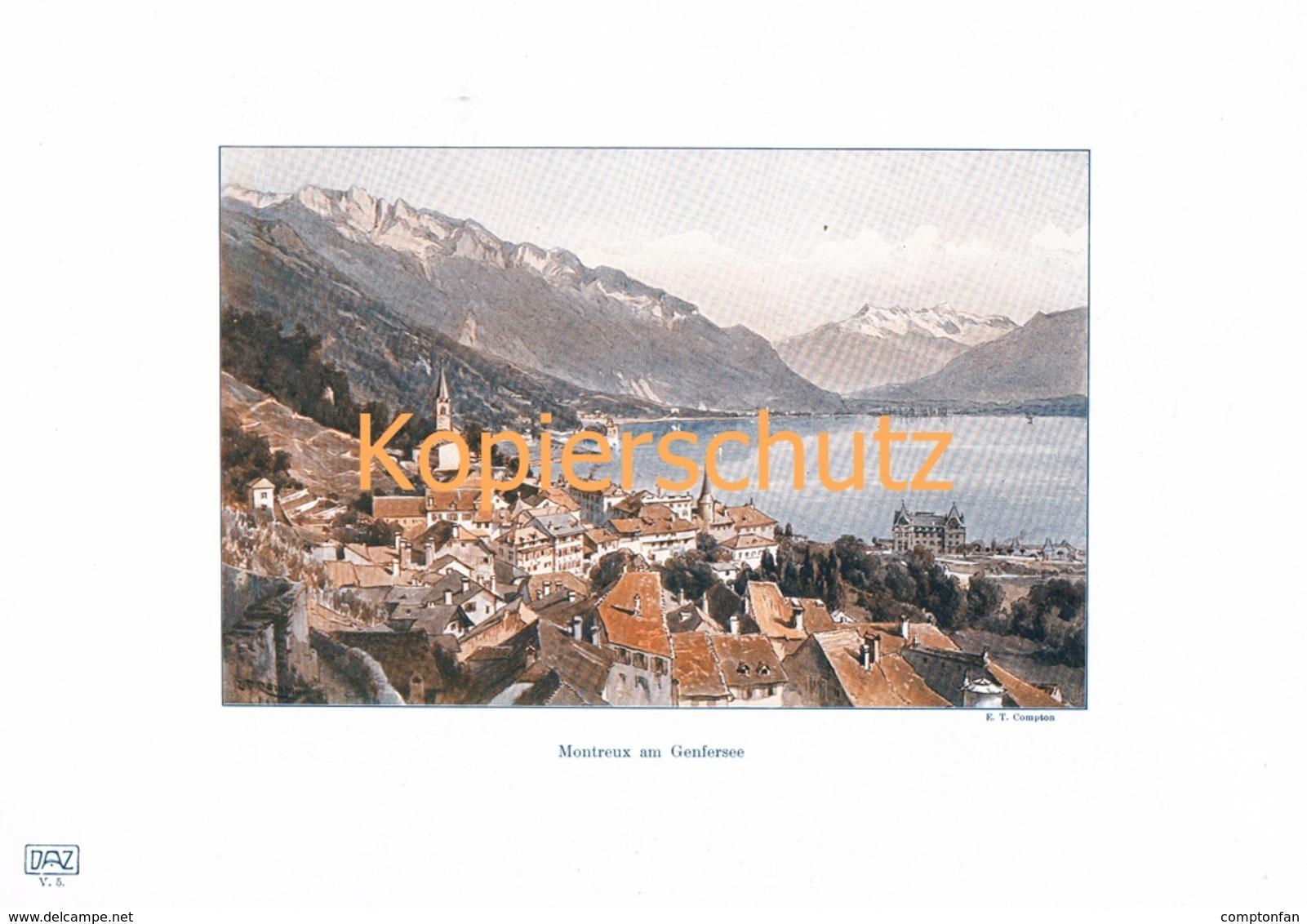109-2 E.T.Compton Montreux Genfersee Farbdruck Kunslatt 1905 !!! - Decretos & Leyes