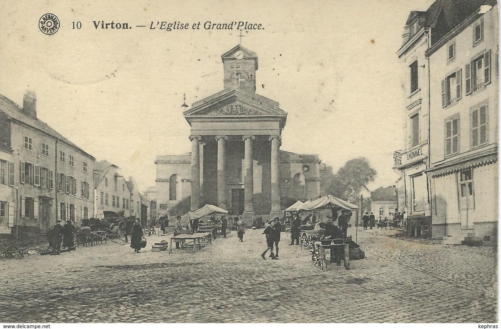 10  VIRTON : Eglise Et Grand'Place - Cachet De La Poste 1920 - Virton