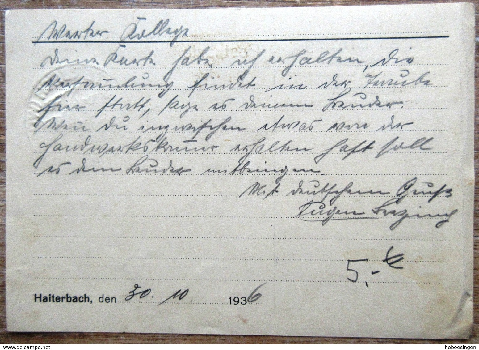 DR Hindenburg 6 Pfg. Auf Karte Aus SST Haiterbach Württ. 30.10.36 - Deutschland
