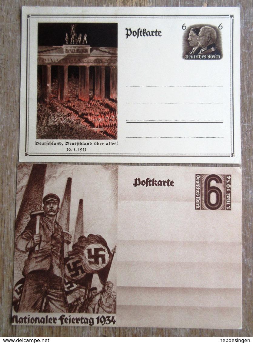 DR Ganzsachen 6 Pfg. Hitler/Hindenburg + 6 Pfg. 1. Mai 1934 Ungebraucht - Ganzsachen