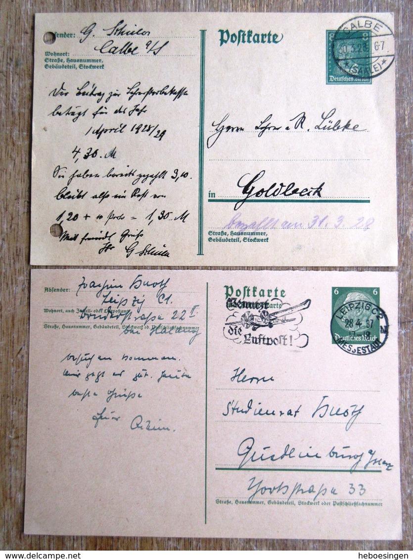 DR Ganzsachen 8 Pfg. Berühmte Deutsche, 6 Pfg. Hindenburg Gebraucht Stempel Calbe/Leipzig - Deutschland