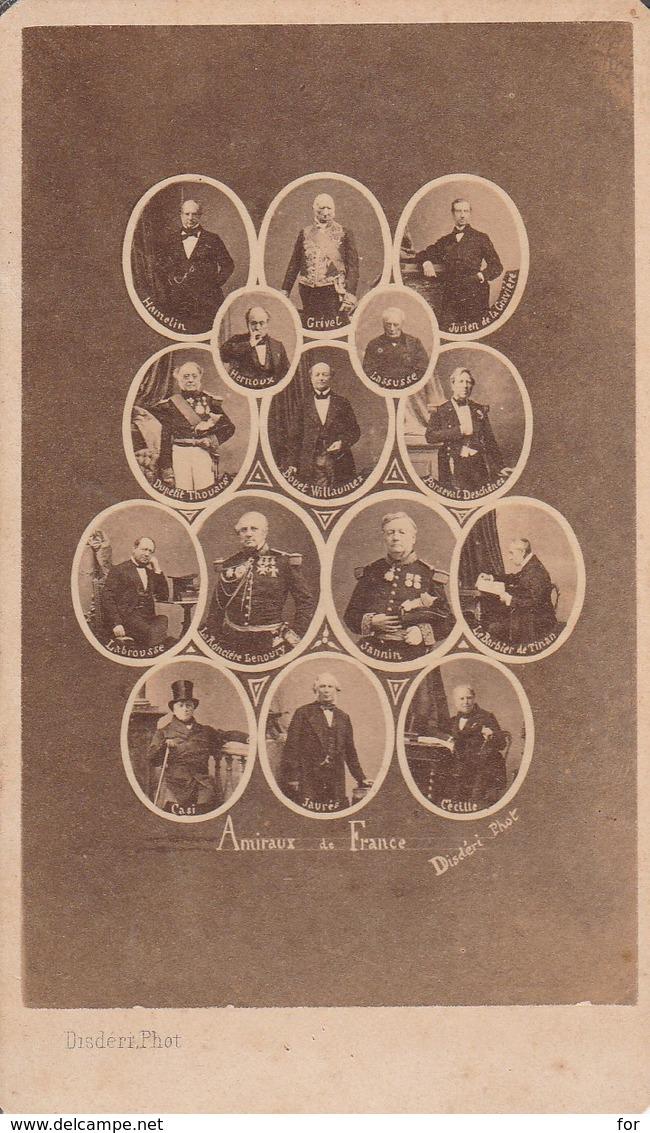 Photo. : C.D.V. : Militaire : Mosaique Des Amiraux De France - Photo. Disdéri - Paris - Photographs
