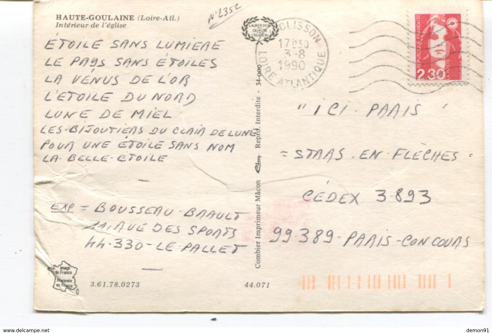 CPSM GF - HAUTE GOULAINE - INTERIEUR DE L' EGLISE - 1990 - Etat - Cim - - Haute-Goulaine
