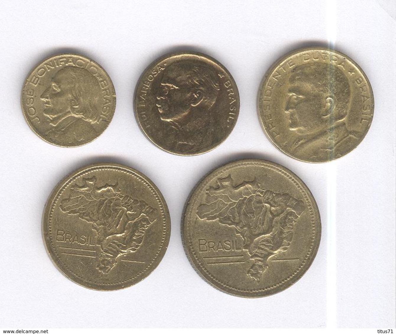 Lot 5 Monnaies Brésil / Brasil - Ancien Cruzeiro / Cruzeiro Antigo - 1943-1948 - TTB+ - Brésil