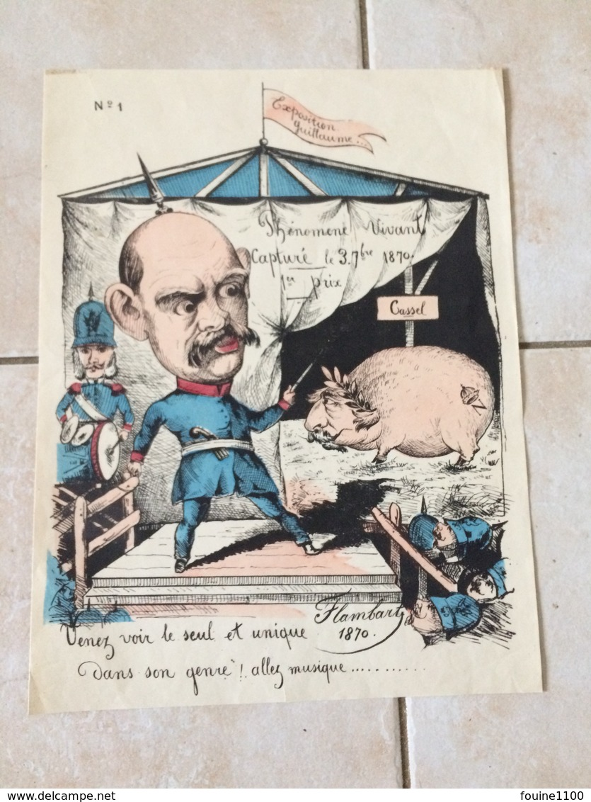 Anti Guillaume Caricature Dessin Humoristique Illustration Satirique Guillaume Cassel Cochon Napoléon Flambart 1870 - Documentos Antiguos