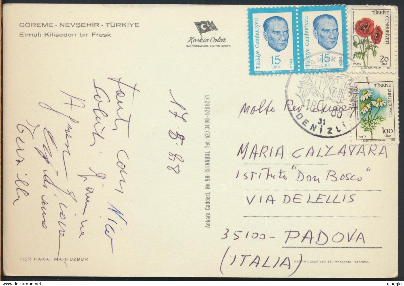 °°° 13049 - TURKEY - GOREME NEVSEHIR - ELMALI KILISEDEN BIR FRESK - 1988 With Stamps °°° - Turchia