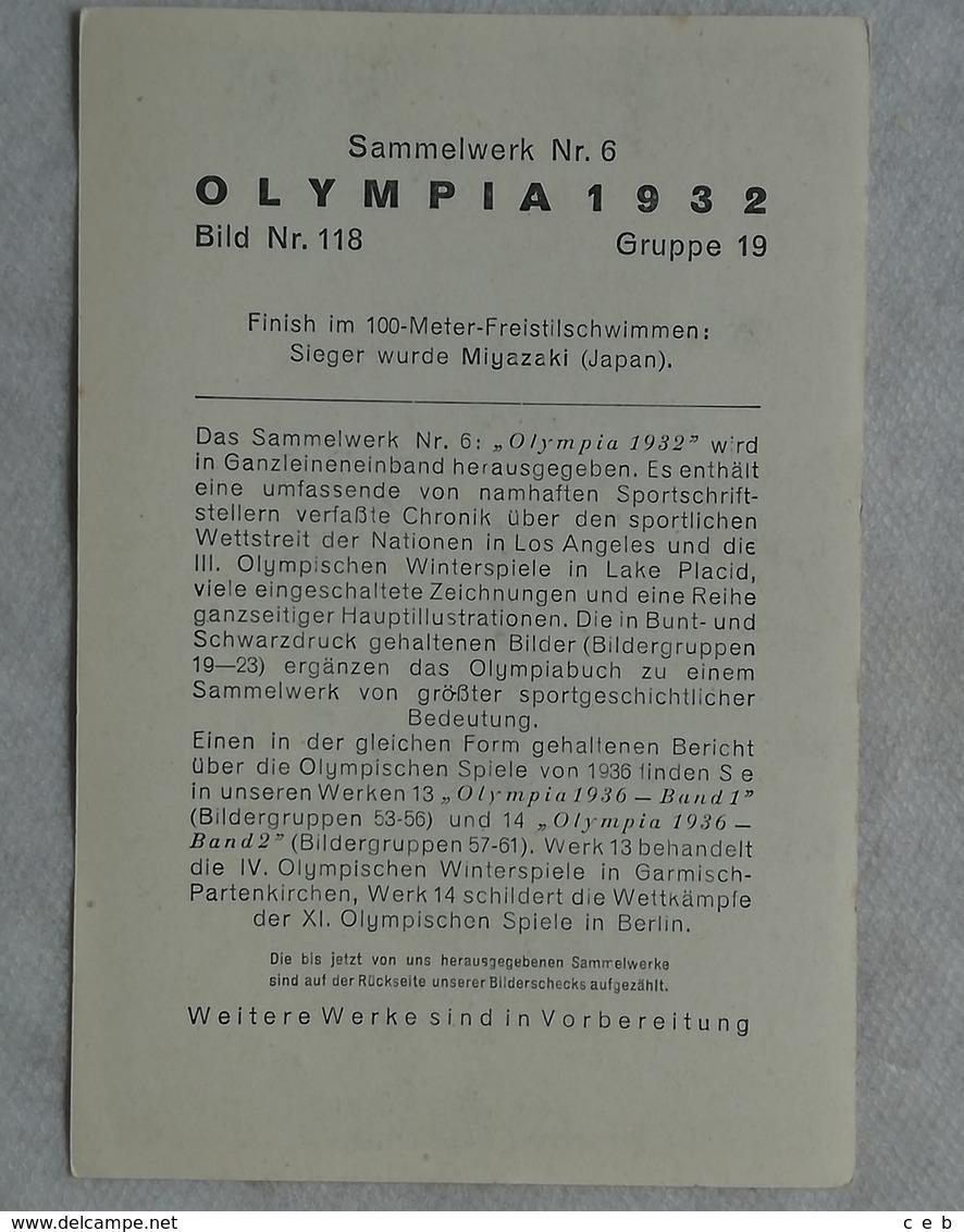 Foto Cromo Olimpiada De Los Ángeles. 1932. Nº 118. Natación, 100 M, Miyazaki, Japón. Hecho En 1936 Para Olimpiada Berlín - Tarjetas