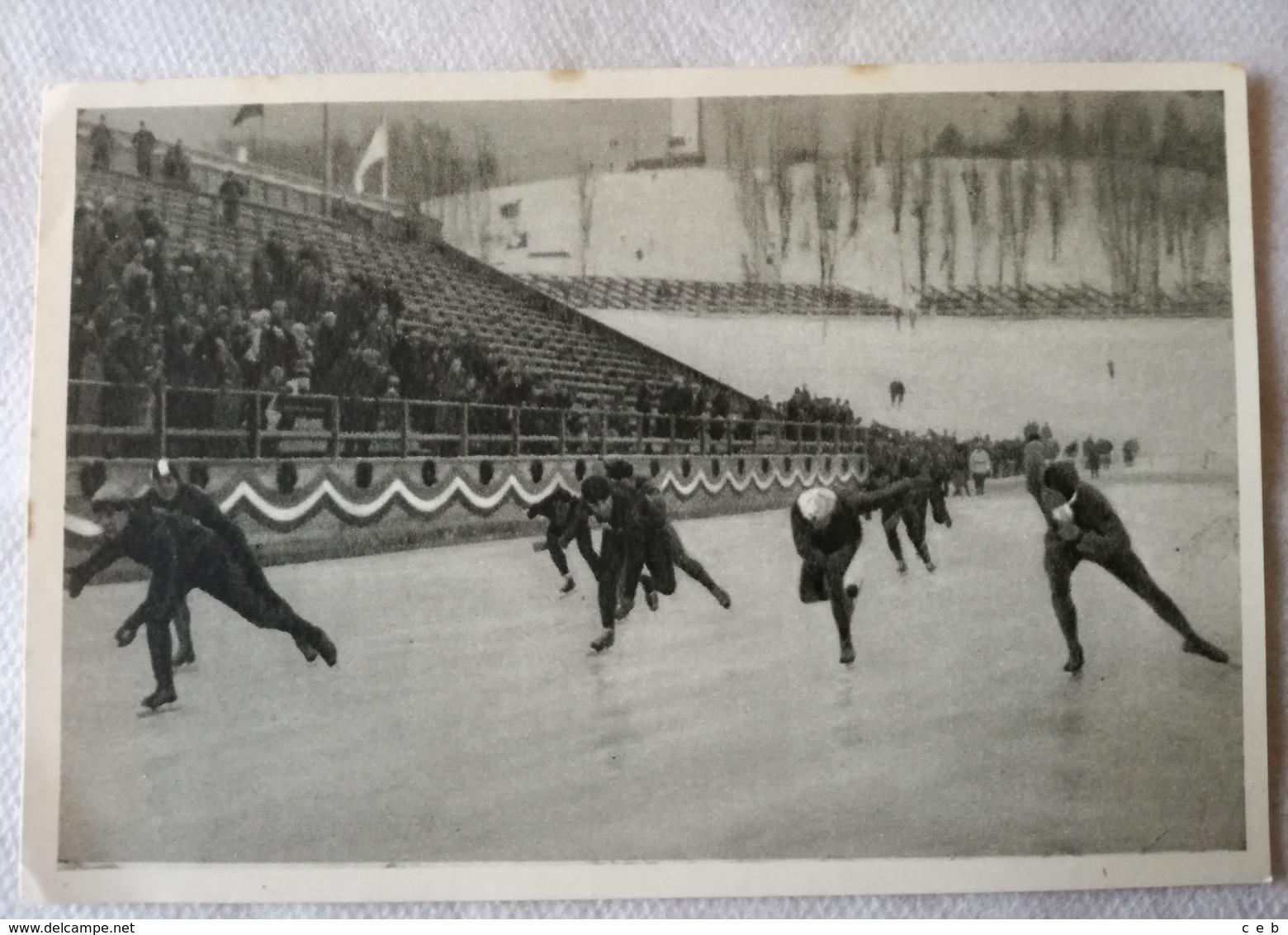 Foto Cromo Olimpiada De Los Ángeles. 1932. Nº 192. Patinaje 5000 Metros, Evensen, Noruega. Hecho En 1936 Para Olimpiada - Tarjetas