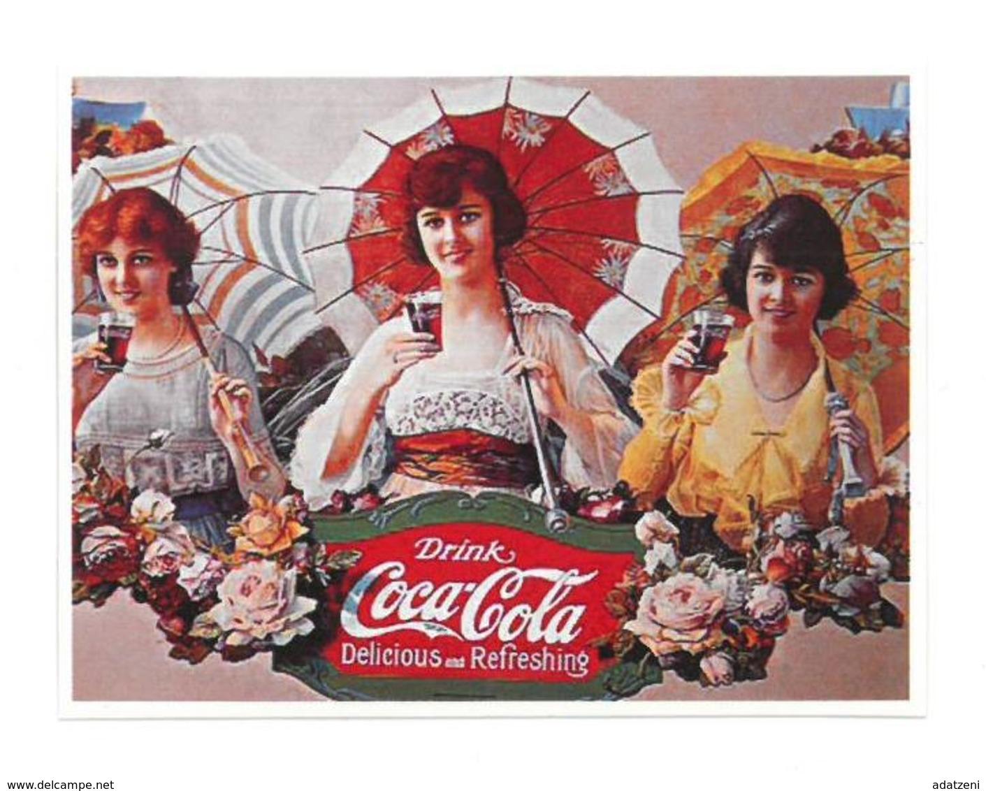 Adesivo Decalcomania Sticker Coca Cola Donna Delicious And Refreshing Dimensioni Cm 8x6 Circa - Adesivi