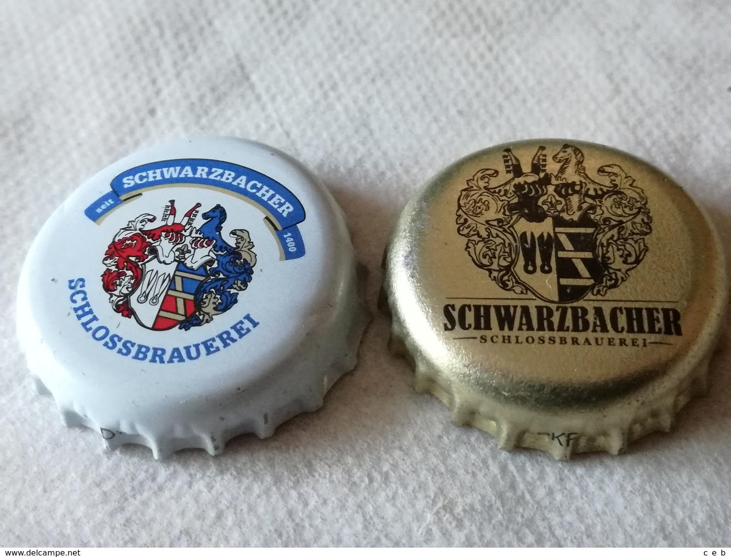 Lote 2 Chapas Kronkorken Caps Tappi Cerveza Schwarzbacher. Alemania - Birra