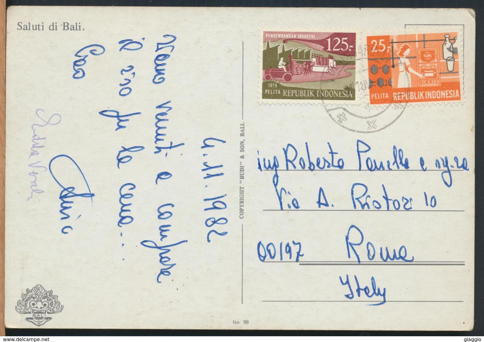 °°° 13065 - INDONESIA - SALUTI DI BALI - 1982 With Stamps °°° - Indonesia