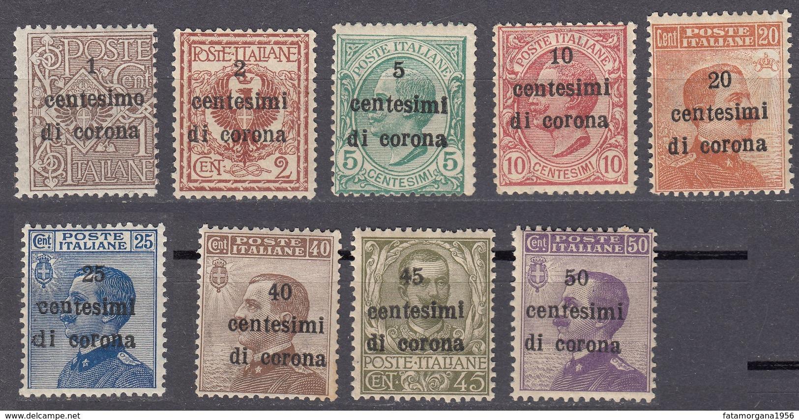 VENEZIA GIULIA, EMISSIONI GENERALI - 1919 -  Lotto 9 Valori Nuovi (MH E MNH): Unificato 1/9. - 8. Besetzung 1. WK