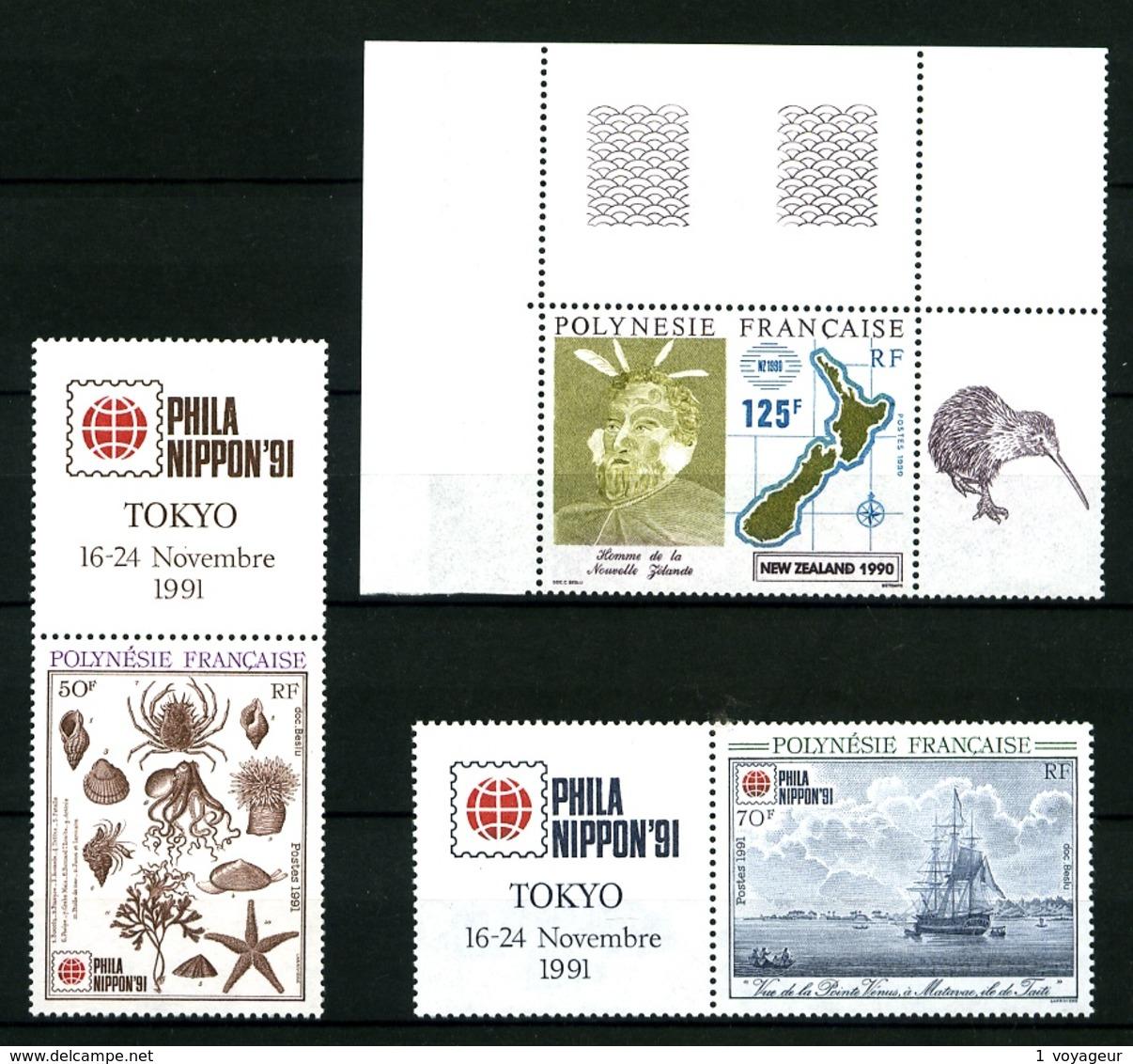 POLYNESIE - 363 + 393 / 394 - 3 Valeurs Expositions Philatéliques - Neufs N** - Très Beaux - Polynésie Française