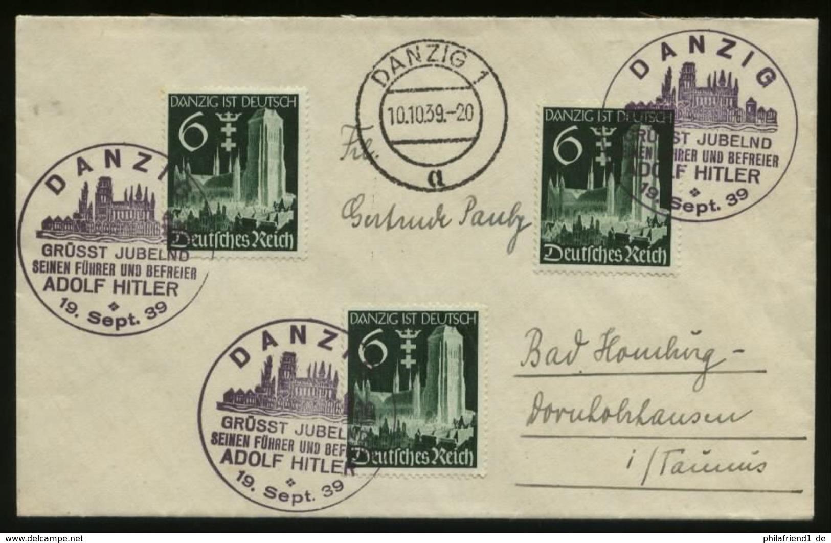 WW II DR Danzig Briefmarken Auf Briefumschlag: Gebraucht Mit Adolf Hitler Sonderstempel Danzig - Bad Homburg 1939 , Be - Allemagne