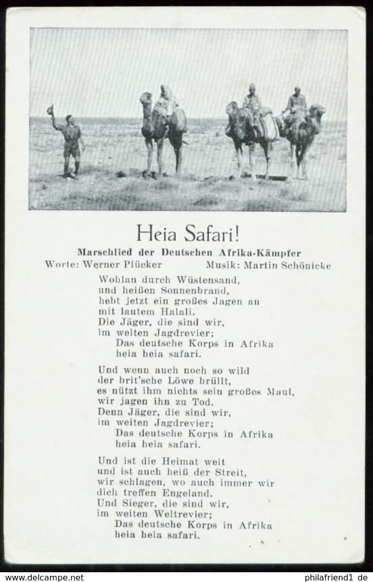 WW II Liederkarte Kamele Soldaten : Heia Safari , Marschlied Der Deutschen Afrika Kämpfer ,ungebraucht. - Germany