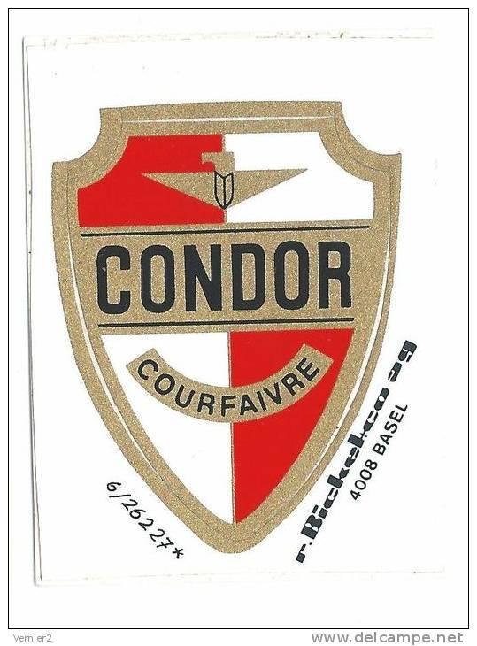 Autocollant Publicitaire Condor Courfaivre (pour Cadre De Vélo?) - Non Classés