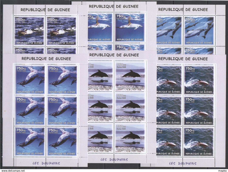 F786 2002 GUINEA FAUNA MARINE LIFE DOLPHINS LES DAUPHINS !!! 6SET MNH - Vlinders