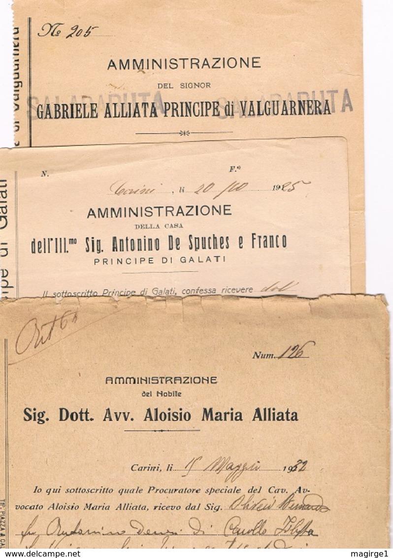 B3245- De Spuches P.pe Di Galati,  Gabriele Alliata P.pe Di Valguarnera, Aloisio Maria Alliata, 3 Documenti Diversi - Libri, Riviste, Fumetti