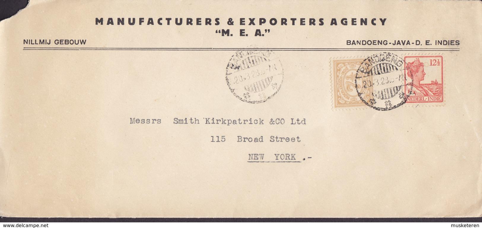 Netherlands Indies MANUFACTURERS & EXPORTERS ACENCY 'M.E.A.' BANDOENG Java 1928 Cover Brief NEW YORK United States - Nederlands-Indië