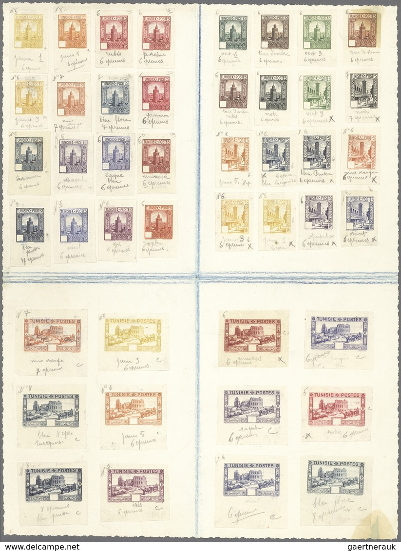 Tunesien: 1931, Postage Stamps: Country And People, 44 Colour Samples Of A Series Of Postage Stamps - Tunisia (1888-1955)
