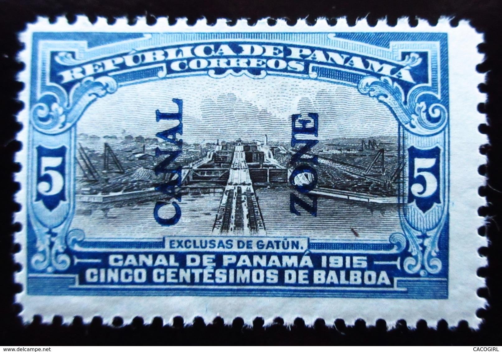 1915 Panama Canal Zone Sn 44, Mi 31 . Gatun Locks  Neuf Trace Charnière - Panama