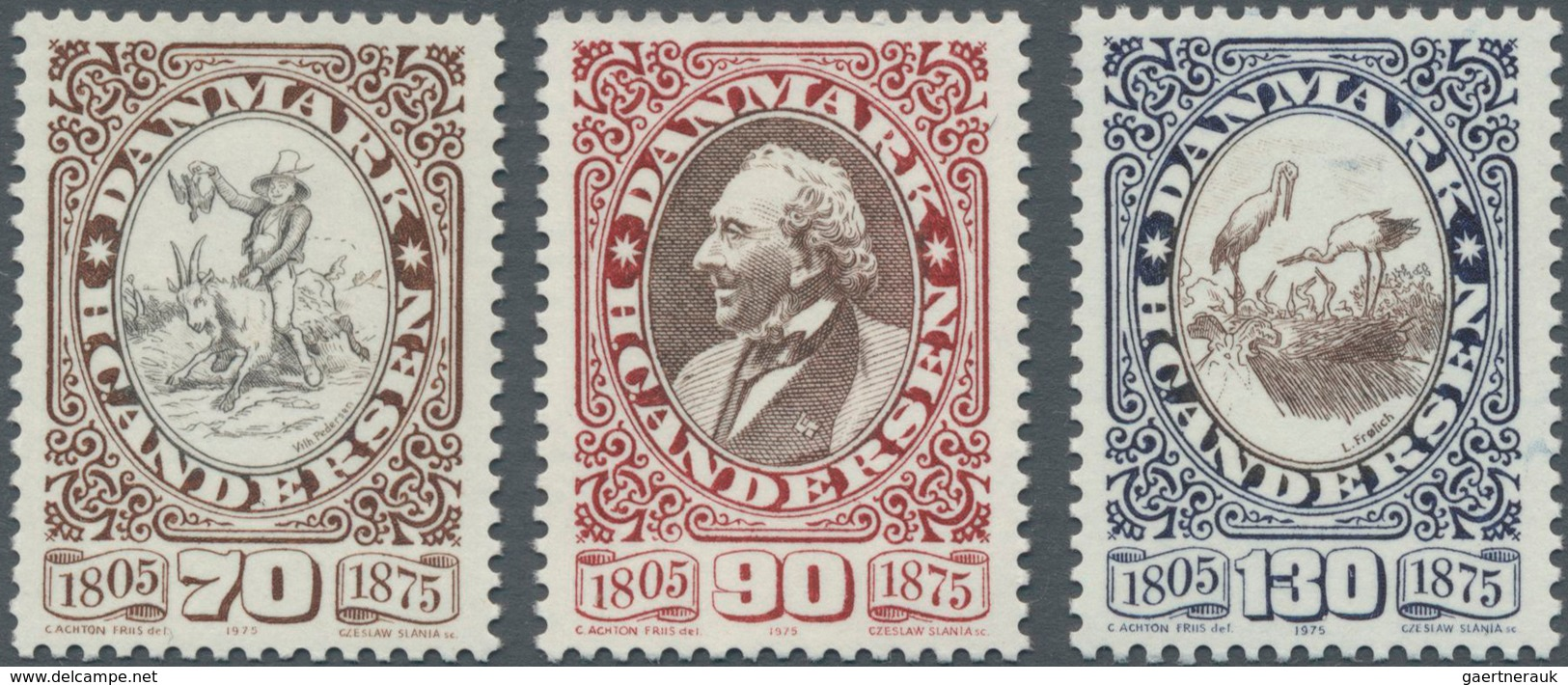 Dänemark: 1975, 100 Years Death Of Hans Christian Andersen Set Of Three In A Lot With 230 Sets Incl. - 1851-63 (Frederik VII)