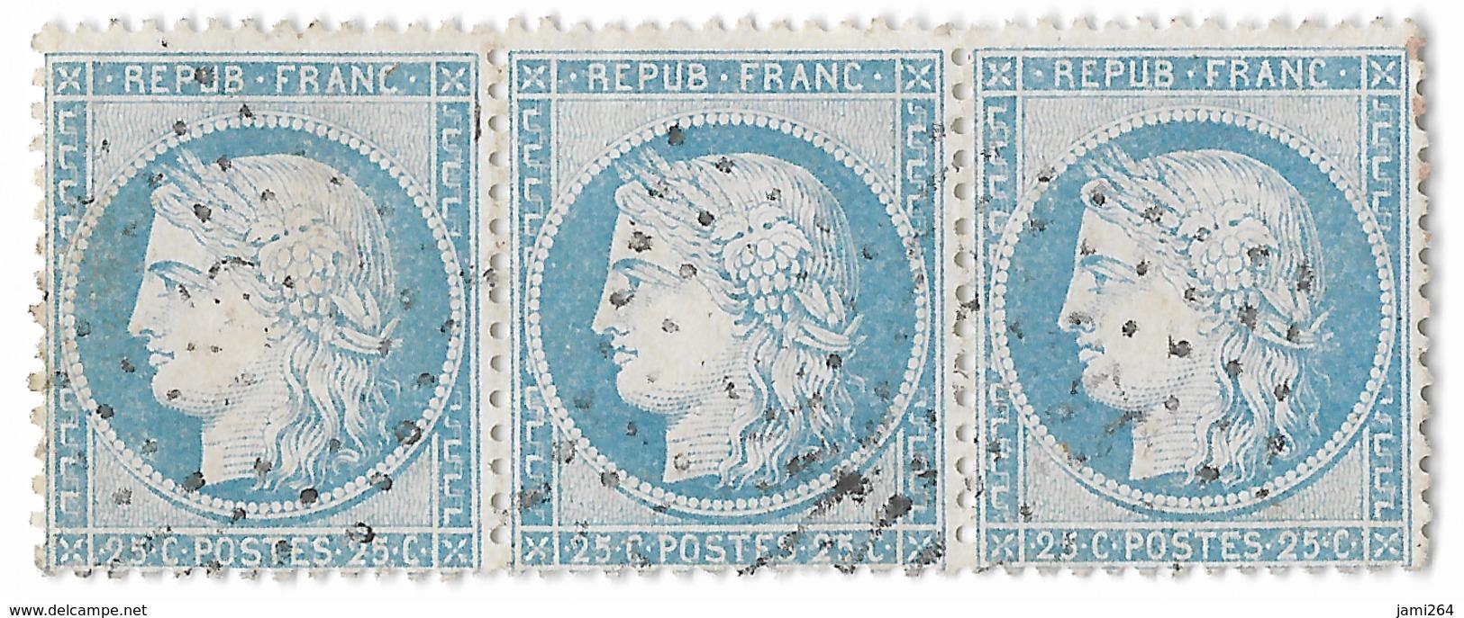 TIMBRE N)  60/1 BANDE DE 3 34/35/36 A2 ; LE N°34 Et 36 RARE À TROUVER SANS VOISINS , TTB - 1871-1875 Cérès