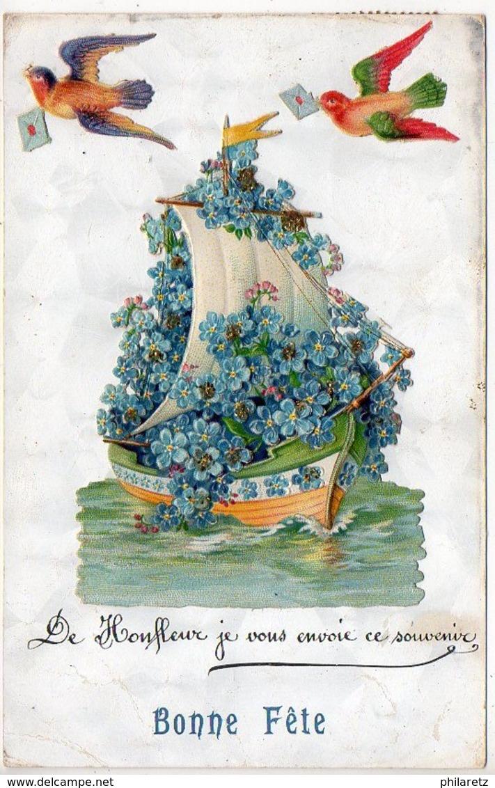 De Honfleur, Je Vous Envoie Ce Souvenir - Oiseaux Et Bateau En Découpis Ajoutés - Honfleur