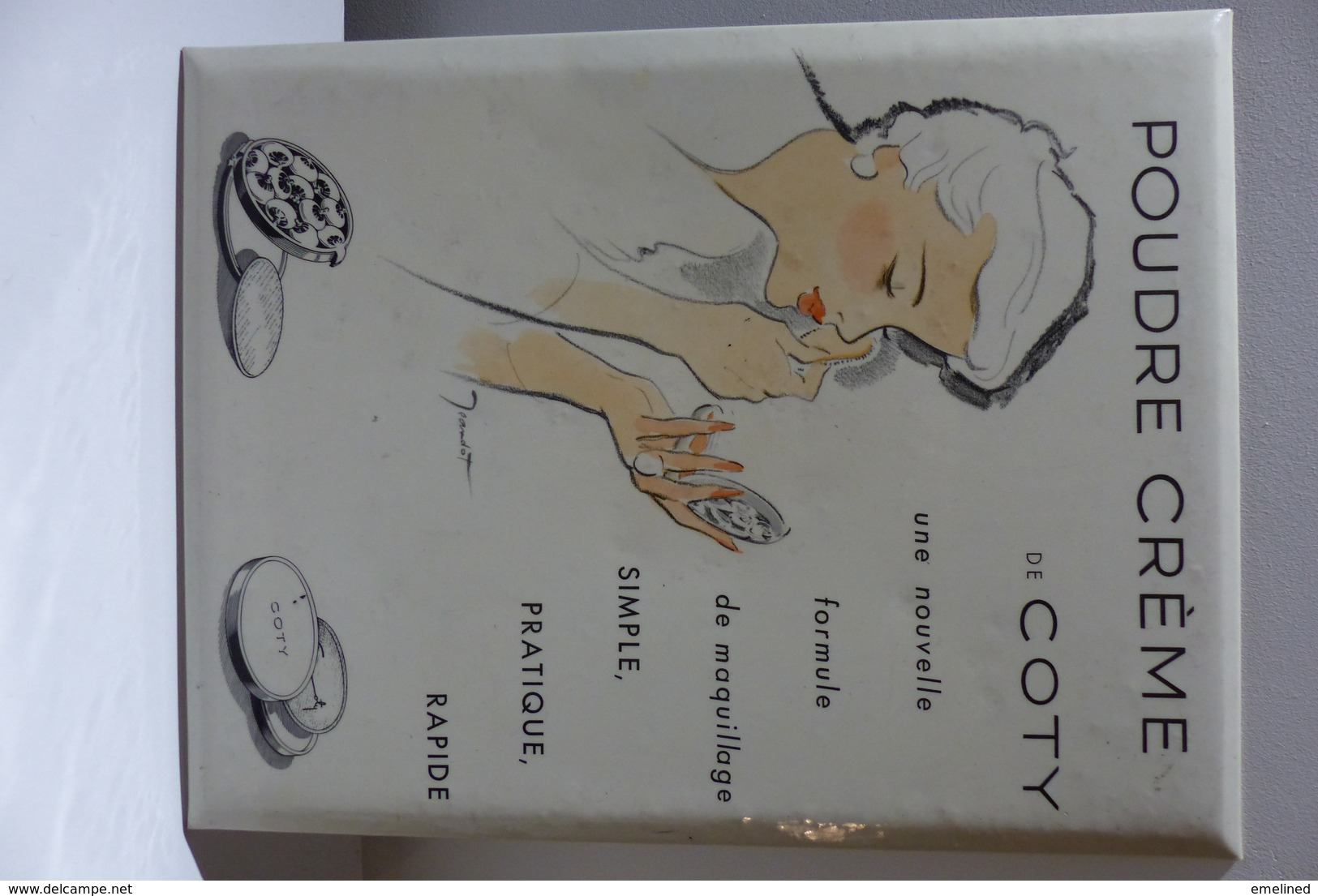 RARE Ancienne Plaque Publicitaire Tôle émaillée ? Poudre Crème COTY Parfum Maquillage Dessin Illustrateur René Jeandot - Plaques Publicitaires