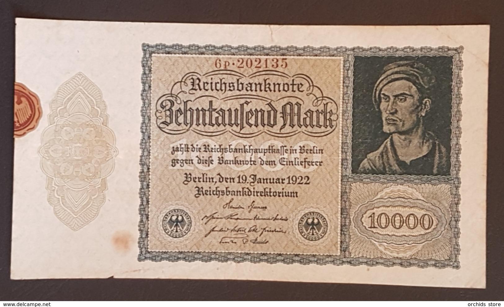 EBN8 - Germany 1922 Banknote 10000 Mark Pick 71 Smaller Size  #6p.202135 - [ 3] 1918-1933: Weimarrepubliek
