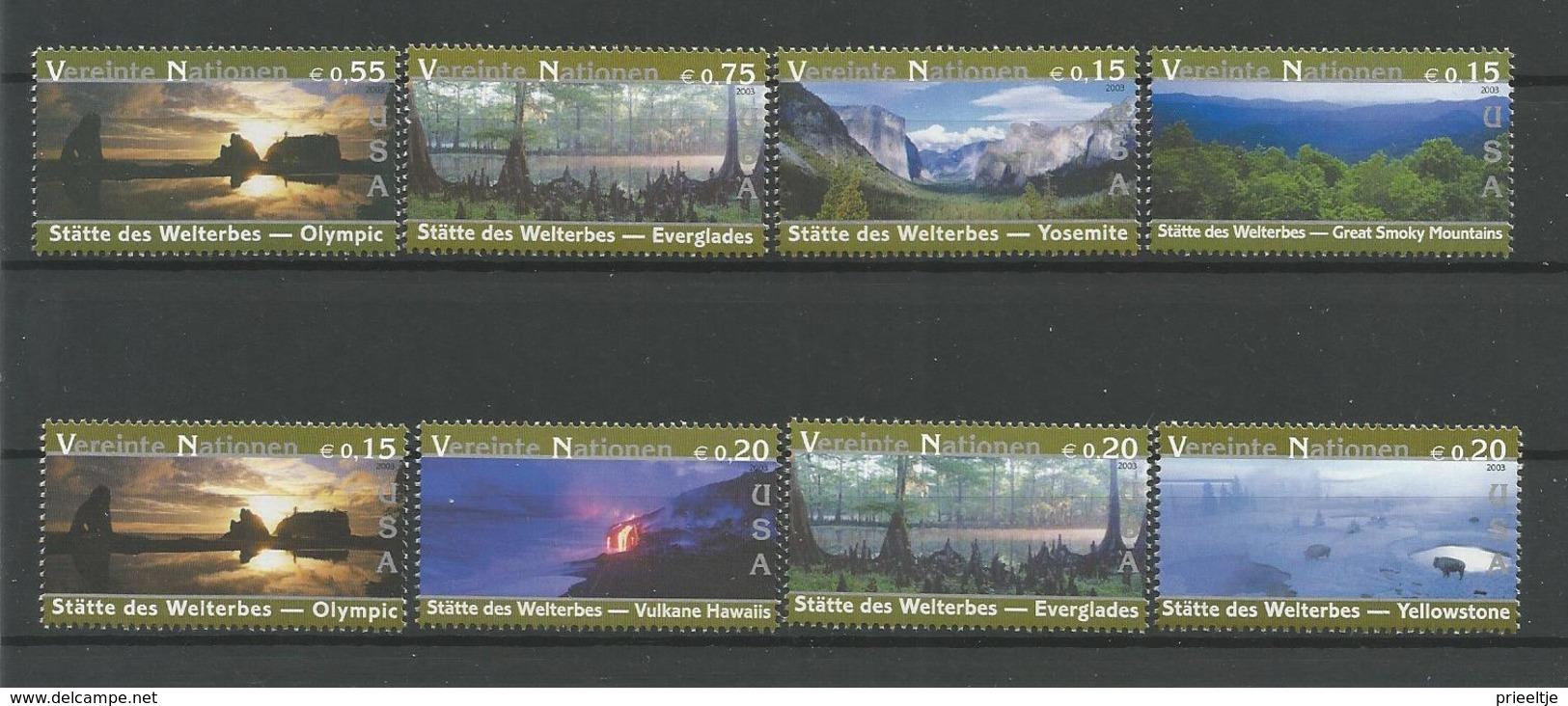 United Nations V. 2003 World Heritage U.S.A. Y.T. 410/417 ** - Wien - Internationales Zentrum