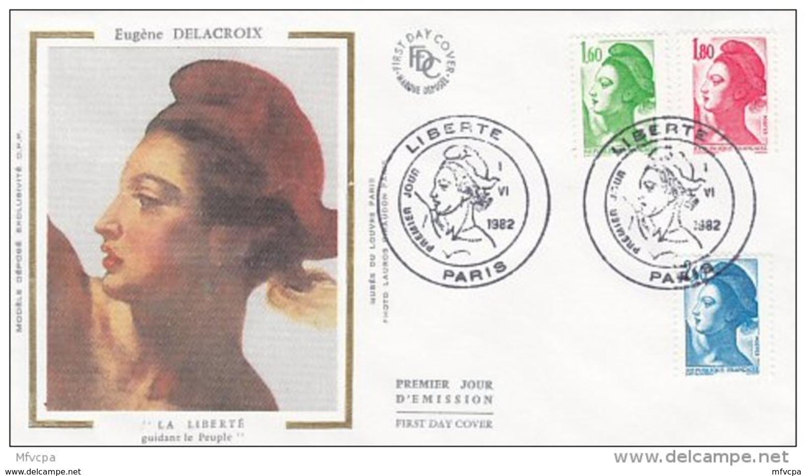 L4R027 FRANCE 1982 FDC Liberté 1,60 1,80 2,60f Paris S 01 06 1982 /envel.  Illus. - 1982-90 Liberté De Gandon
