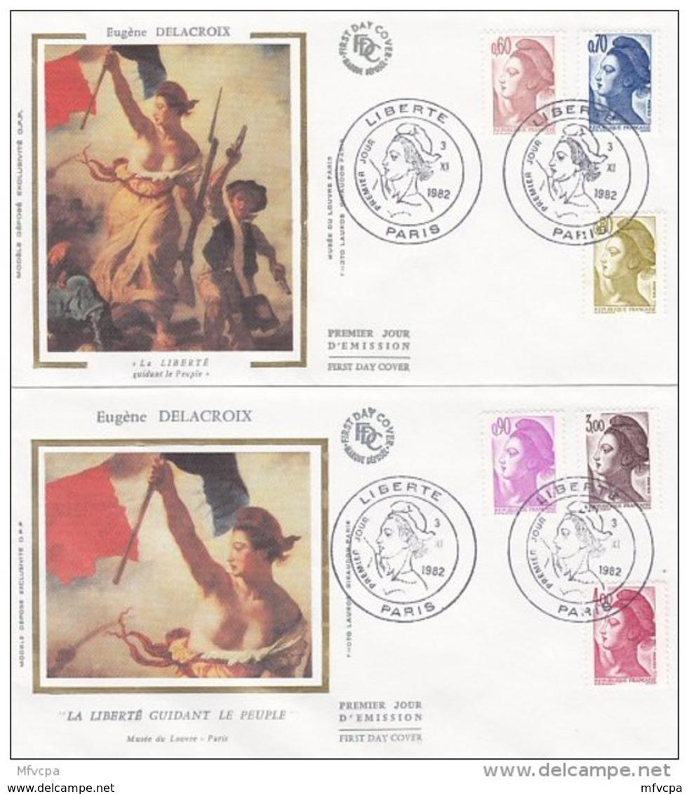 L4R047 FRANCE 1982 FDC Liberté 0,60 0,70 0,80 0,90 3,00 4,00  Paris 03 11 1982 / 2 Envel.  Illus. - 1982-90 Liberté De Gandon