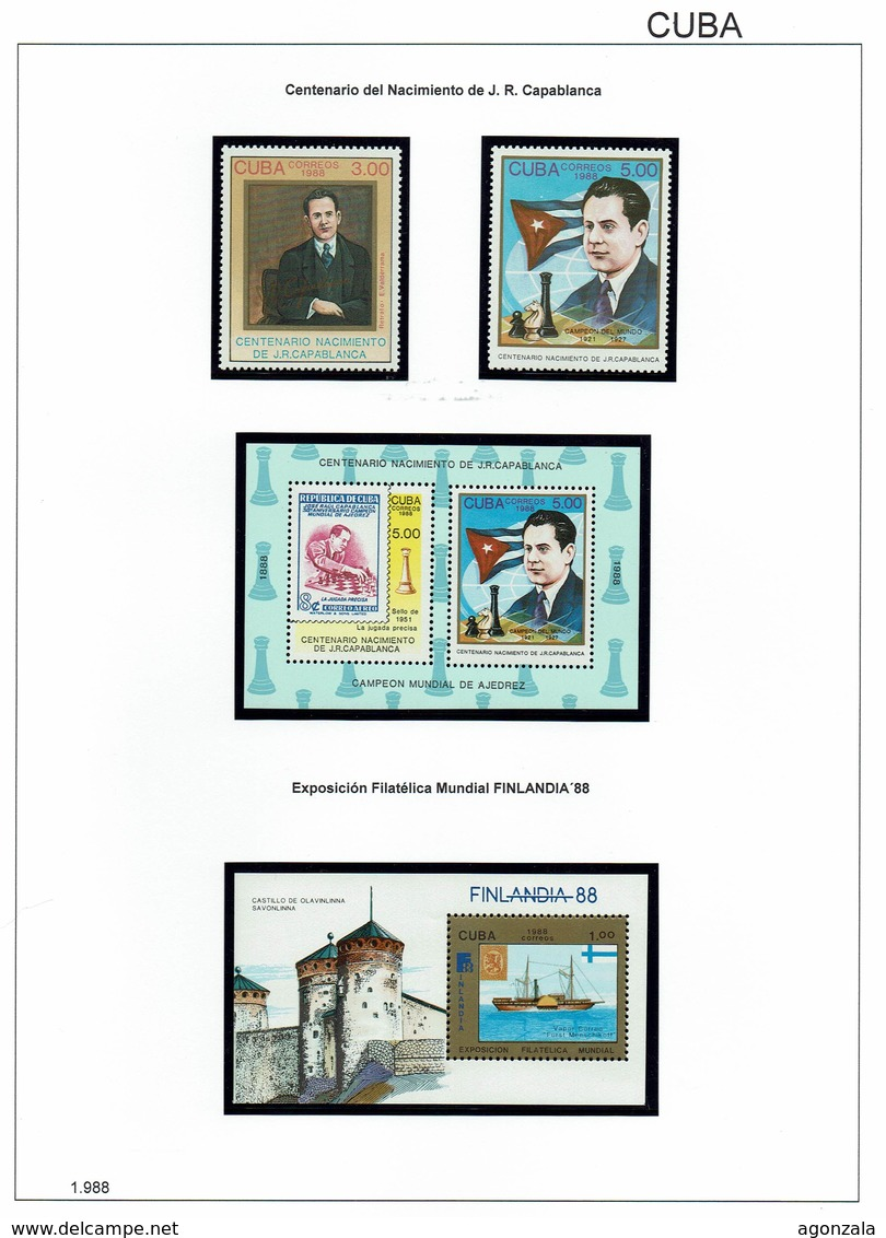 COLLECTION TIMBRES NOUVELLES MNH DE CUBA ANNÉES 1975 À 2017 COMPLETES MONTÉE DANS 4 ARCHIVERS AVEC BANDES HAWID - Stamps