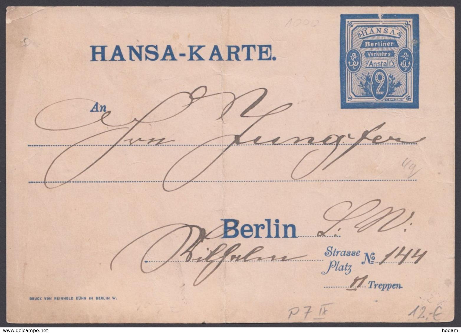 """Berlin : """"Hansa-Karte"""", 1887 Bedarfsgelaufen - Privatpost"""