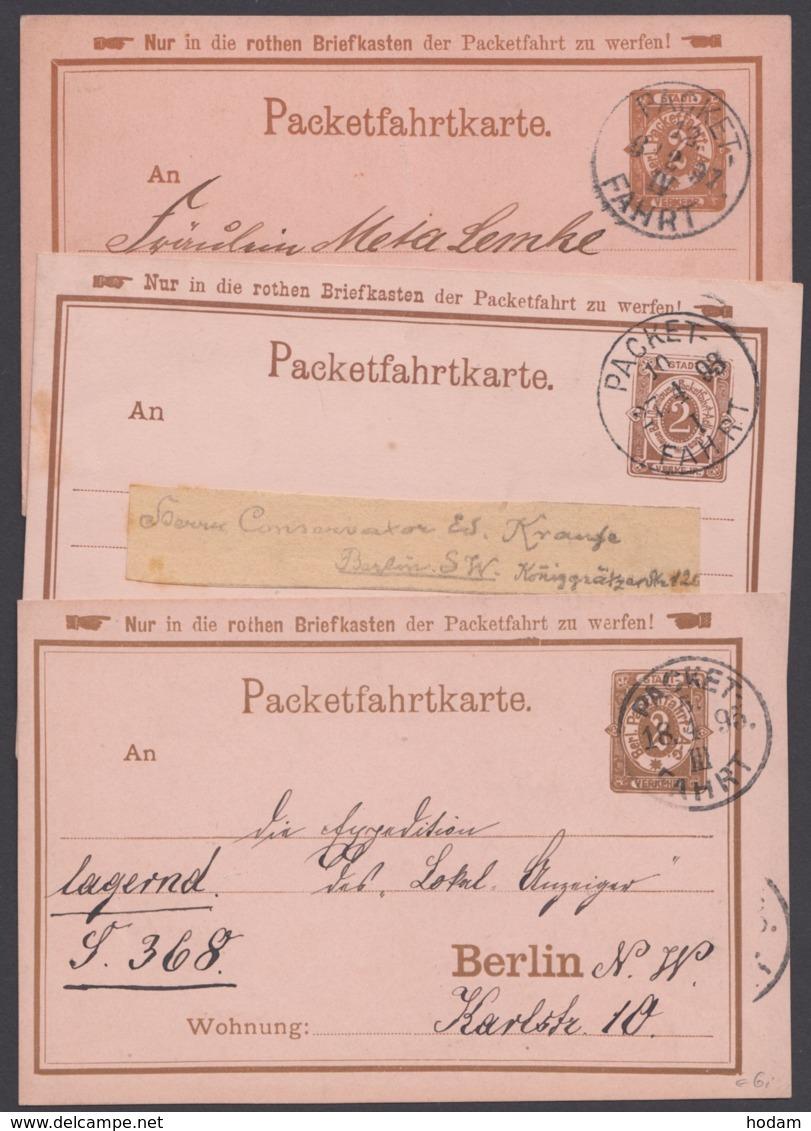 "Berlin : ""Packetfahrt"", 3 Karten, Bedarf Aus 1891/3 - Privatpost"