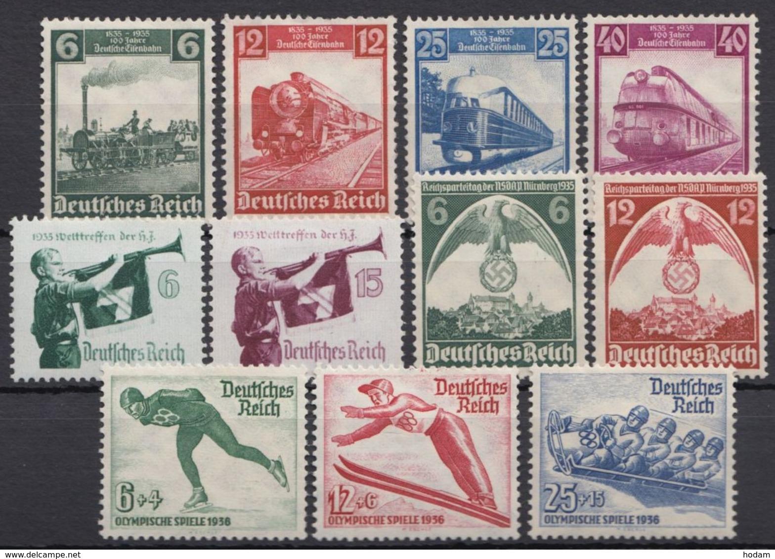 580/7, 600/2, 4 Kplt. Ausgaben Aus 1935, *, Alle Falzrest - Deutschland