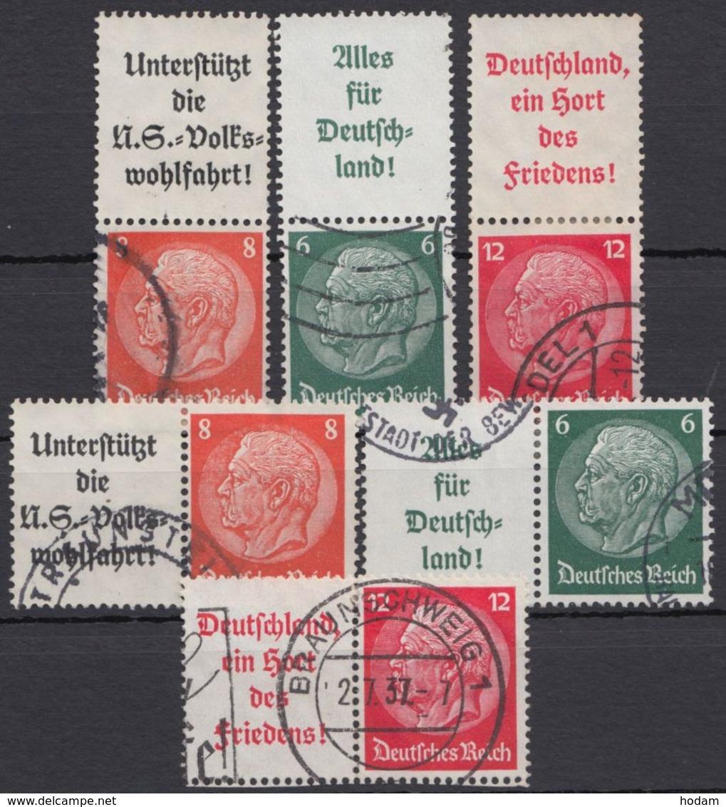 """Aus S 131/W 67 """"Hindenburg"""" Mit Werbefeld, 6 Versch. Zusammendrucke, Bedarfsstempel - Zusammendrucke"""