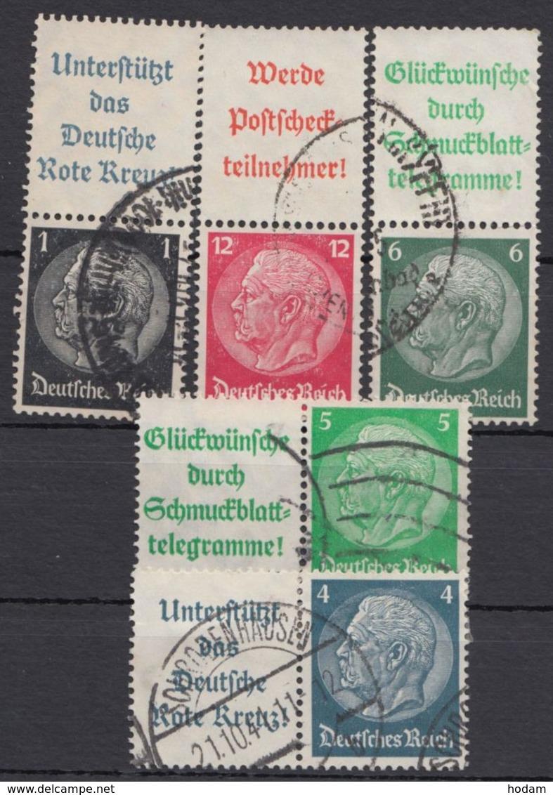 """Aus S 191/W 89 """"Hindenburg"""" Mit Werbefeld, 5 Versch. Zusammendrucke, Bedarfsstempel - Zusammendrucke"""