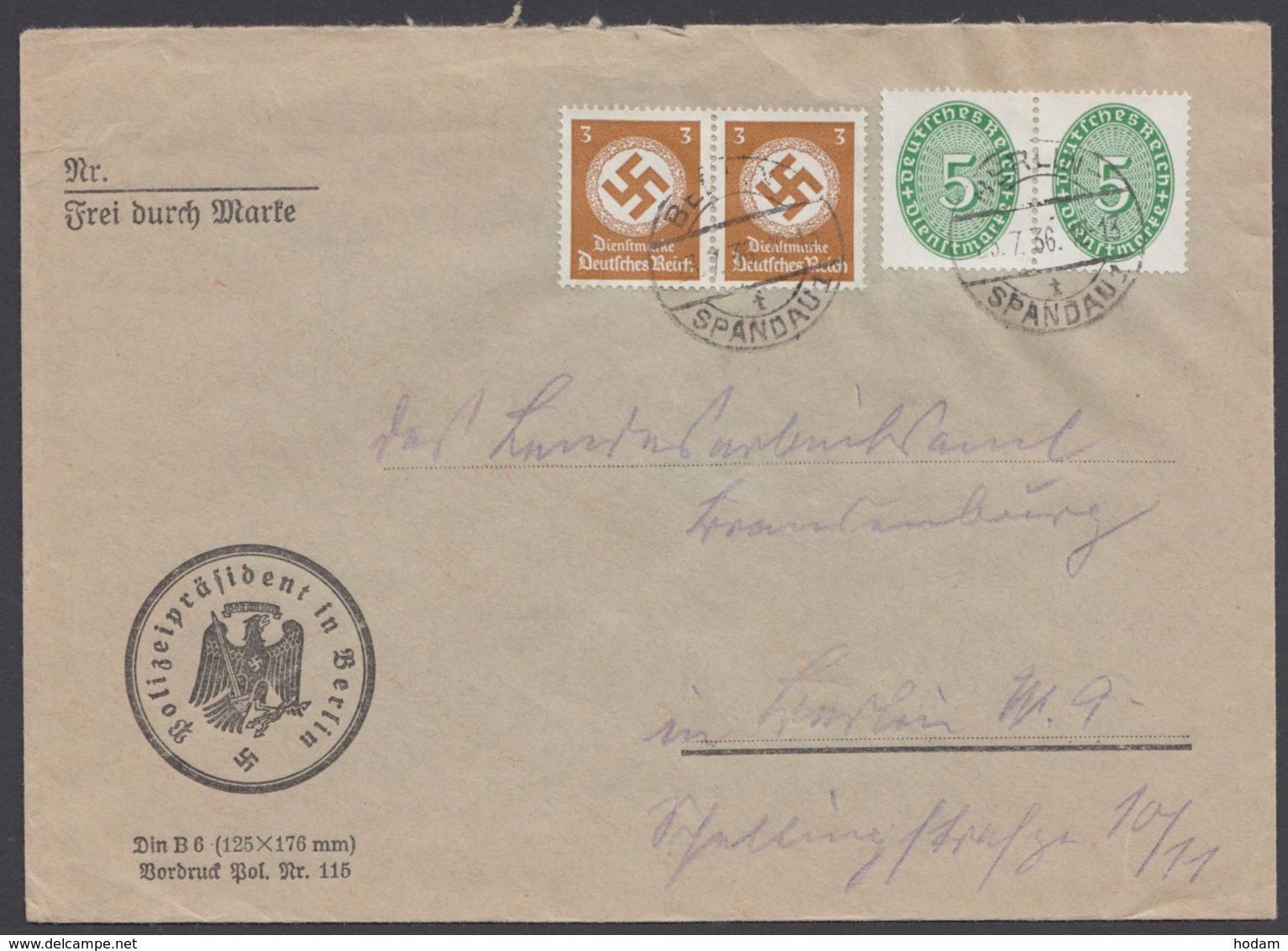 """115, 132, 2 Waag. Paare Auf Ortsbrief """"Berlin"""", 23.7.36 - Dienstpost"""
